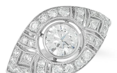 A DIAMOND DRESS RING in Art Deco style, set with a