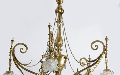 A FRENCH ART NOUVEAU BRASS CHANDELIER EARLY 20TH CENTURY