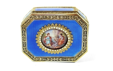A French Engine Enamel and Silver Gilt Snuff Box