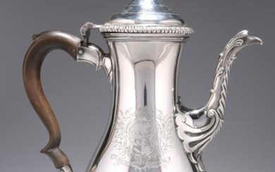 A GEORGE III SILVER COFFEE POT, London 1764, baluster