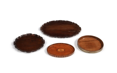 A George III mahogany 'pie crust' oval tray