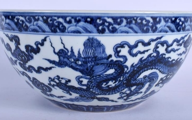 A LARGE CHINESE BLUE AND WHITE PORCELAIN DICE BOWL 20th