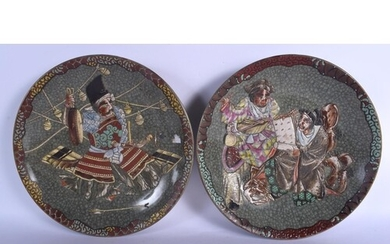 A LARGE PAIR OF 19TH CENTURY JAPANESE CRACKLE GLAZED ENAMELL...