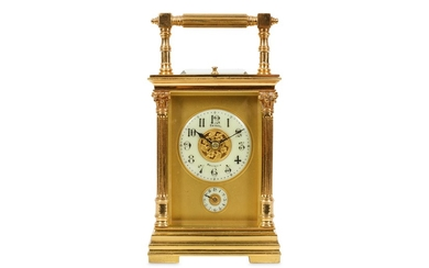 A LATE 19TH CENTURY FRENCH GILT BRASS PETITE SONNERIE CARRIAGE CLOCK WITH ALARM AND REPEAT