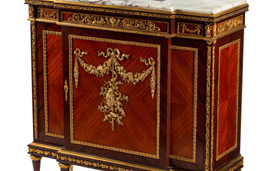 A Louis XVI Style Gilt Bronze Mounted Kingwood and Rosewood Cabinet