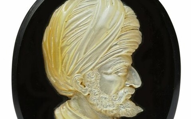 A MOTHER-OF-PEARL CAMEO CARVING OF BARBAROSSA,ITALY