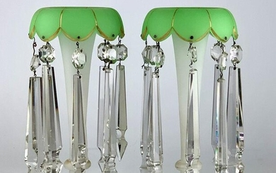 A PAIR OF 19TH C. FRENCH OPALINE GLASS LUSTERS