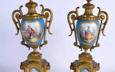 A PAIR OF 19TH CENTURY FRENCH SEVRES PORCELAIN VASES