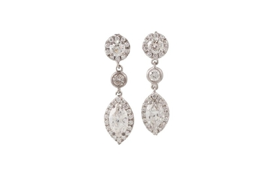 A PAIR OF DIAMOND DROP CLUSTER EARRINGS, set with marquise a...