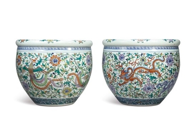 A PAIR OF DOUCAI 'DRAGON AND PHOENIX' FISHBOWLS, 20TH CENTURY