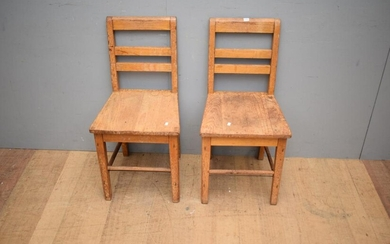 A PAIR OF RUSTIC TIMBER CHAIRS (83H X 41W X 43D CM)