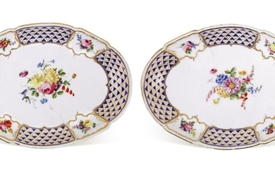 A PAIR OF SEVRES PORCELAIN OVAL DISHES, CIRCA 1760