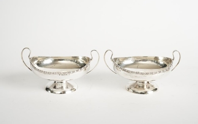 A PAIR OF STERLING SILVER HANDLED BOWLS CHARLES S. GREEN & CO. LTD, BIRMINGHAM, CIRCA 1913, LEONARD JOEL LOCAL DELIVERY SIZE: SMALL