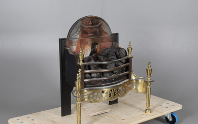 A POLISHED STEEL, BRASS & CAST IRON FIRE BASKET IN THE GEORGE III STYLE.