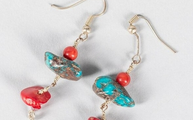 A Pair Of Coral Like Turquoise Drop Earrings