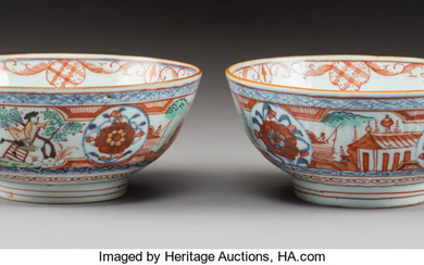 A Pair of Chinese Enameled Export Porcelain Bowls (Qing Dynasty)