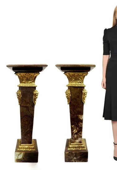 A Pair of French Figural Bronze Marble Pedestals