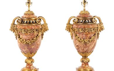 A Pair of Louis XVI Style Gilt Bronze and Marble Urns Mounted as Lamps