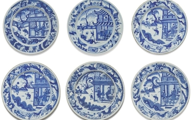A SET OF SIX BLUE AND WHITE DISHES, QING DYNASTY, KANGXI PERIOD