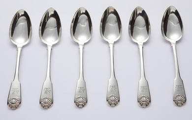 A SET OF SIX GEORGE III STERLING SILVER TABLE SPOONS
