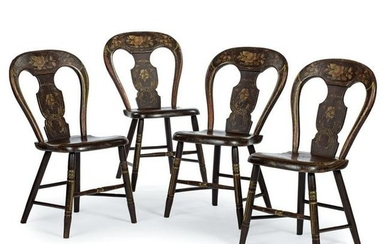 A Set of Four Paint-Decorated Fancy Chairs