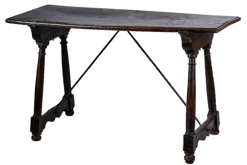 A Spanish wrought iron mounted walnut table, 17th...