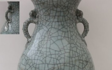 A True crackle dragon vase with Qilins H. 38.7 cm - Celadon - China - Qing Dynasty (1644-1911)