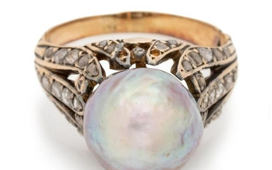 A Yellow Gold, Cultured Pearl and Diamond Ring,