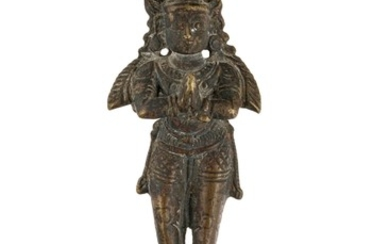 "A bronze figure of ""Namaste"" Hanuman Garuda, India, Tamil Nadu, 18th century or earlier, 8,5 cm high"