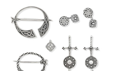 A collection of Scottish silver jewellery