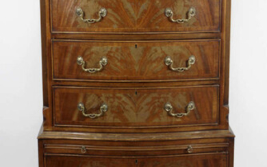 A collection of assorted furniture to include, a reproduction bowfront chest on chest, a pair of small bow fronted chests of drawers, a pair of twin drawer side tables, etc.
