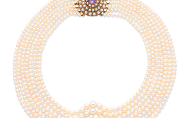 A cultured pearl and amethyst necklace