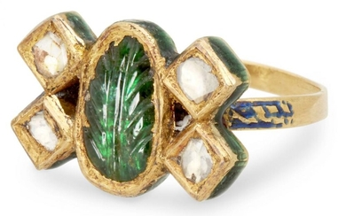A diamond and emerald-set gold ring, India,...