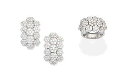 A diamond dress ring and earclip suite