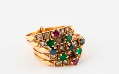 A five-ring ring in yellow gold (750) set with rubies, sapphires, emeralds and brilliant-cut diamonds in claw and grain settings.