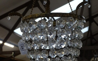 A gilt-metal hanging light fitting, with cut-glass lustre dr...