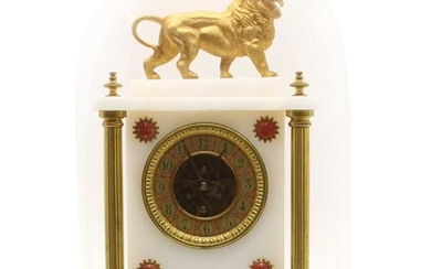 A late 19th century French alabaster and gilt cased mantle clock