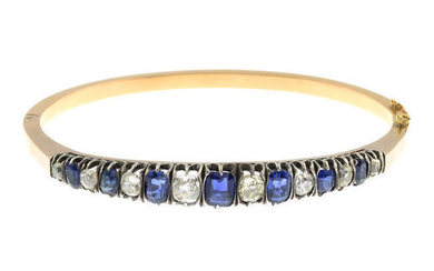 A late 19th century gold sapphire and old-cut diamond bangle.
