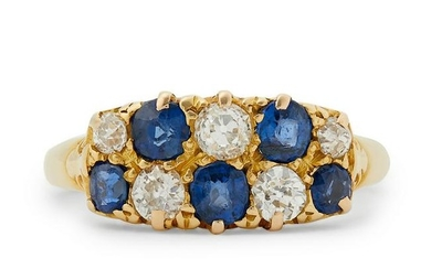 A late Victorian sapphire and diamond ring.
