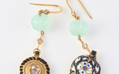 A pair of Indian enamel, diamond and green agate drop earrings