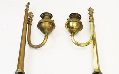 A pair of Victorian brass ecclesiastical wall mounted oil la...
