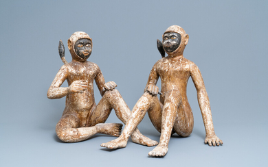 A pair of polychrome wooden figures of monkeys, South-East Asia, 19th C.