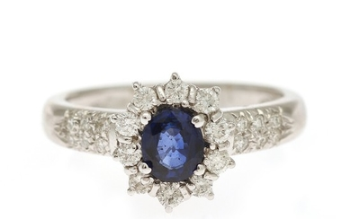 A sapphire and diamond ring set with an oval-cut sapphire encircled by numerous brilliant-cut diamonds, mounted in 18k white gold. Size 54.