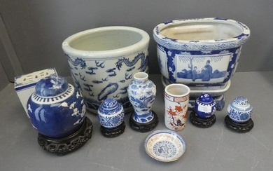 A selection of blue and white chinese porcelain including ja...