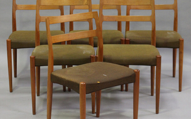 A set of six mid-20th century Danish teak dining chairs, designed by Johannes Andersen for Uldum Mob