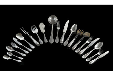A silver flatware service comprising: twelve forks, spoons and knieves,...