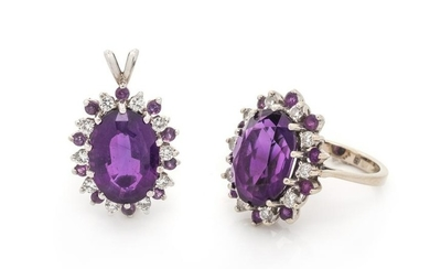 AMETHYST AND DIAMOND SET