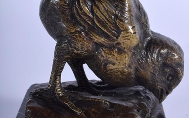 AN ART DECO FRENCH BRONZE FIGURE OF A BIRD by Charles
