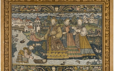 AN OLD TESTAMENT BIBLICAL NEEDLEWORK PANEL, DEPICTING THE DISCOVERY OF MOSES, PROBABLY FRENCH, FIRST HALF 16TH CENTURY
