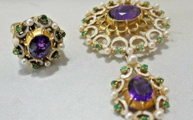 ANTIQUE 9k YG, Amethyst, Pearl, Emerald & Enamel Ring &